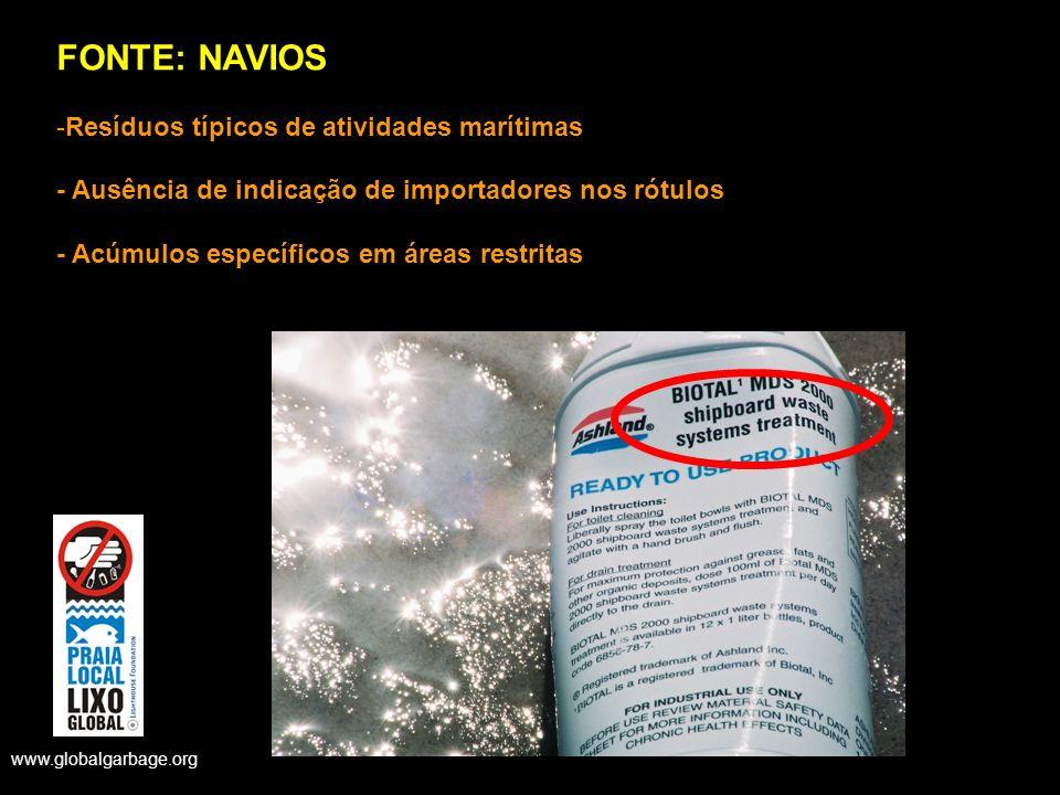 FONTE: NAVIOS -Resíduos típicos de atividades marítimas - Ausência de indicação de importadores nos rótulos - Acúmulos específicos em áreas restritas