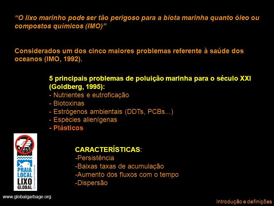 www.globalgarbage.org Fontes FONTES DE LIXO MARINHO 1)Terrígenas (land-based): usuários de praias, agricultura, lixões, esgotos e drenagem urbana.
