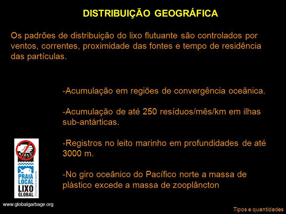 www.globalgarbage.org Tipos e quantidades DISTRIBUIÇÃO GEOGRÁFICA -Acumulação em regiões de convergência oceânica. -Acumulação de até 250 resíduos/mês