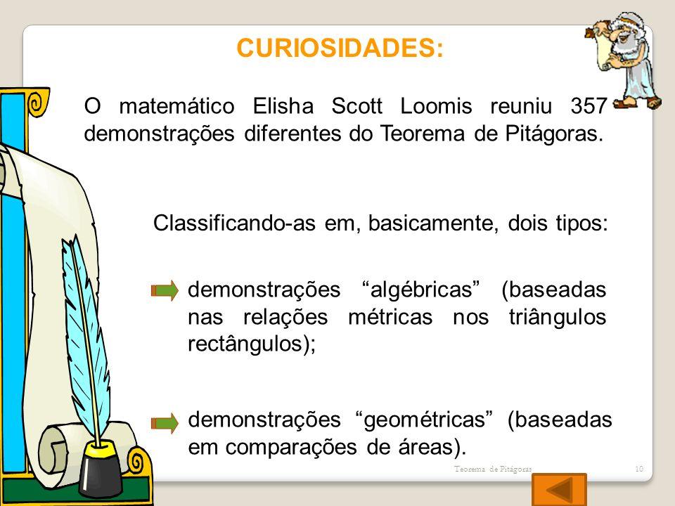 CURIOSIDADES: O matemático Elisha Scott Loomis reuniu 357 demonstrações diferentes do Teorema de Pitágoras. Classificando-as em, basicamente, dois tip