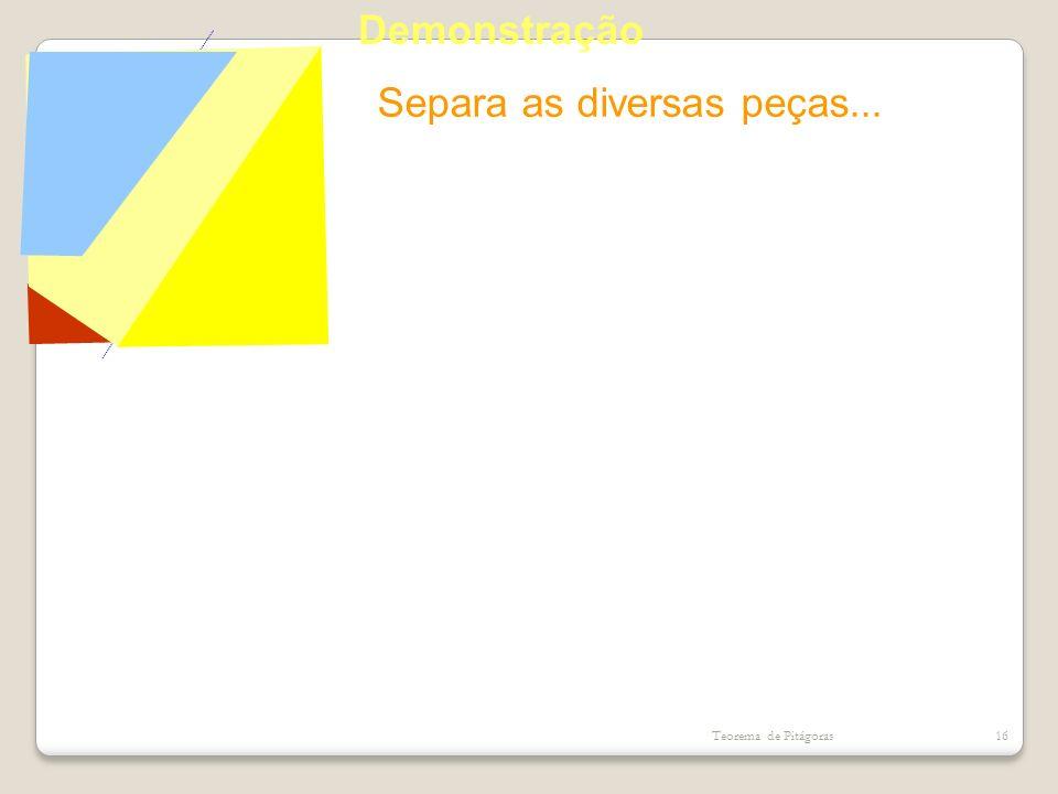 Separa as diversas peças... Teorema de Pitágoras16 Demonstração