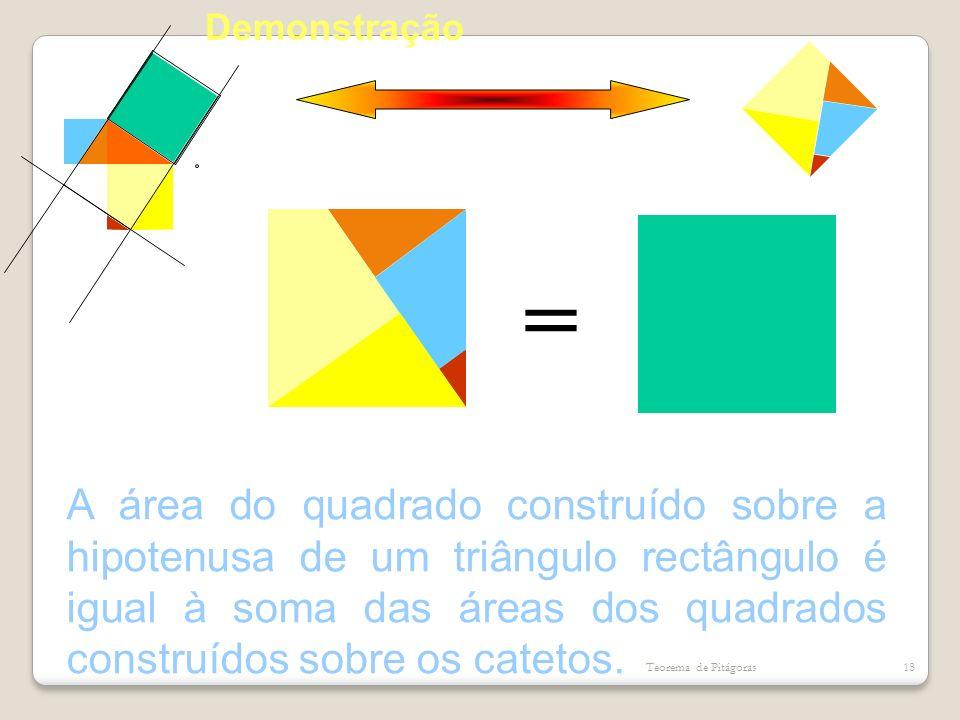 = A área do quadrado construído sobre a hipotenusa de um triângulo rectângulo é igual à soma das áreas dos quadrados construídos sobre os catetos. Teo