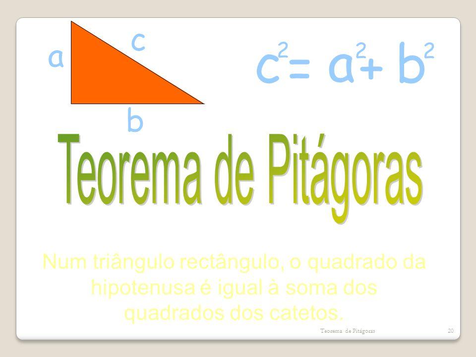 c a b a c b =+ 2 2 2 Num triângulo rectângulo, o quadrado da hipotenusa é igual à soma dos quadrados dos catetos. Teorema de Pitágoras20