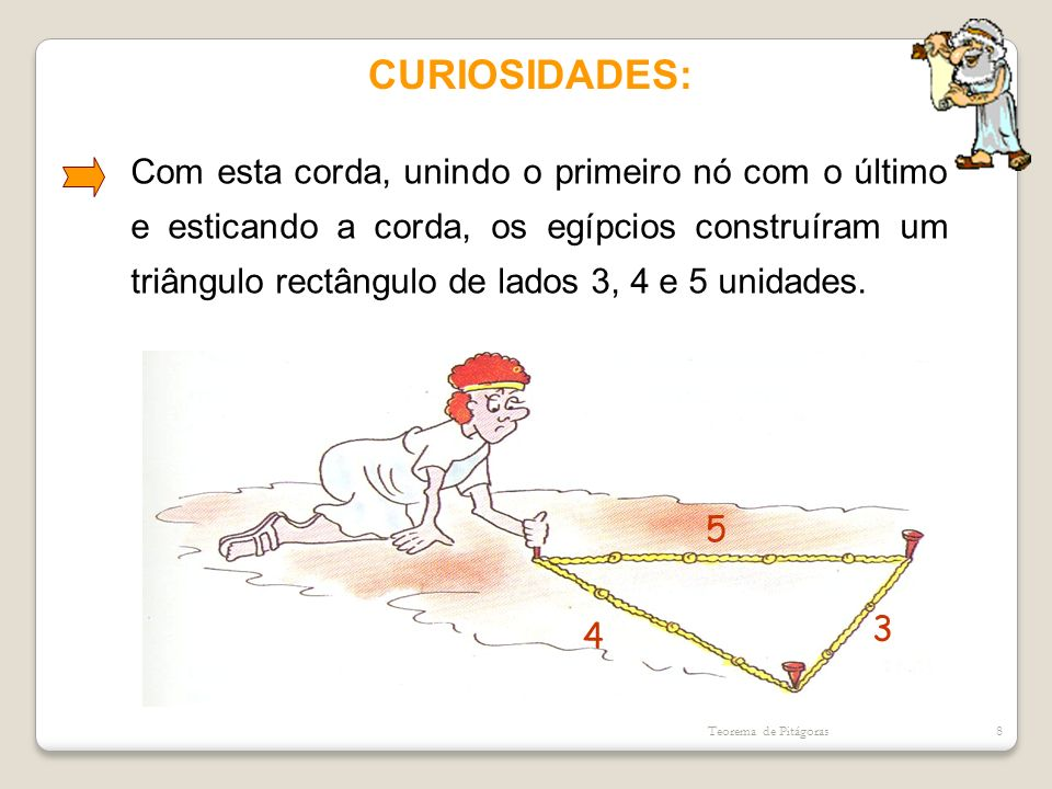 CURIOSIDADES: Com esta corda, unindo o primeiro nó com o último e esticando a corda, os egípcios construíram um triângulo rectângulo de lados 3, 4 e 5