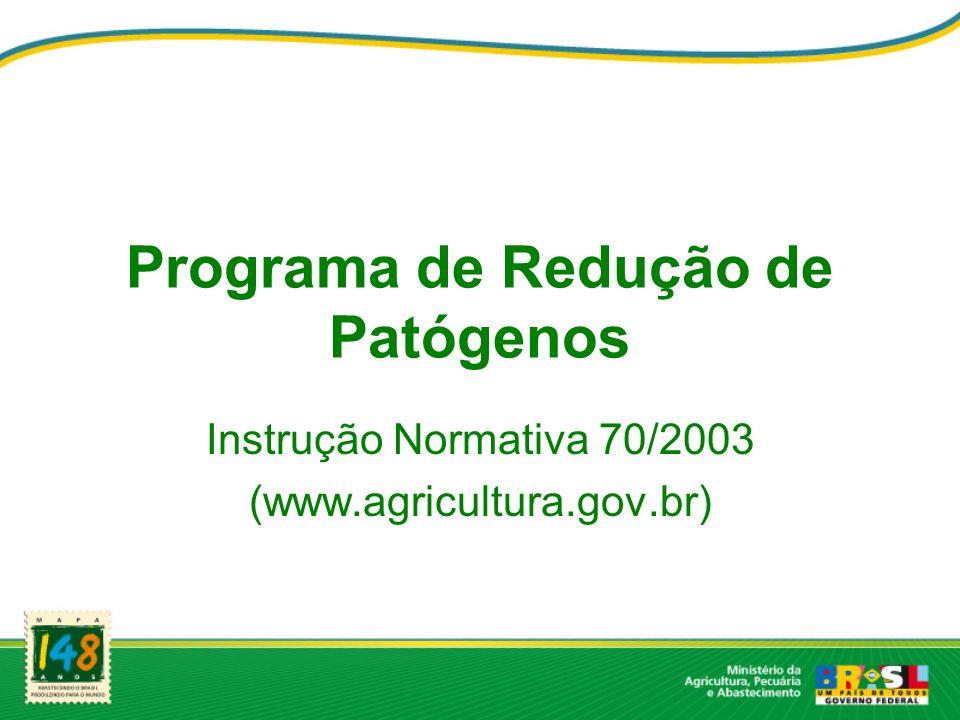 Programa de Redução de Patógenos Instrução Normativa 70/2003 (www.agricultura.gov.br)
