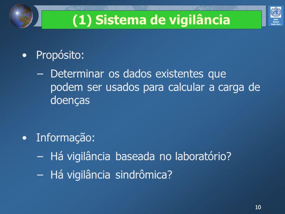 10 Propósito: Determinar os dados existentes que podem ser usados para calcular a carga de doenças Informação: Há vigilância baseada no laboratório? H
