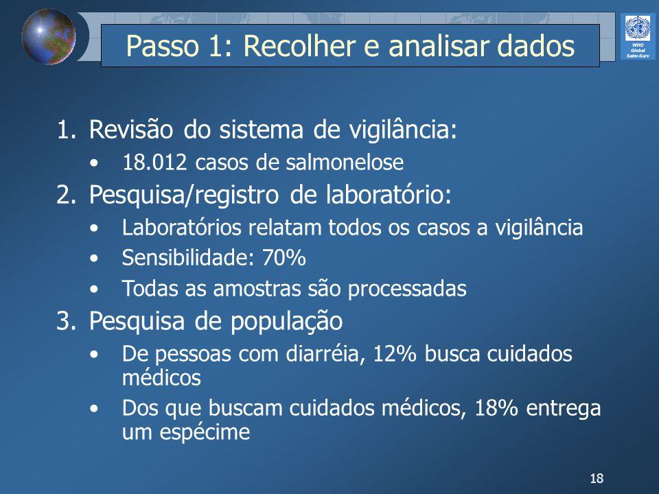18 Passo 1: Recolher e analisar dados 1.Revisão do sistema de vigilância: 18.012 casos de salmonelose 2.Pesquisa/registro de laboratório: Laboratórios
