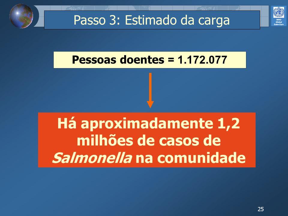 25 Passo 3: Estimado da carga Pessoas doentes = 1.172.077 Há aproximadamente 1,2 milhões de casos de Salmonella na comunidade