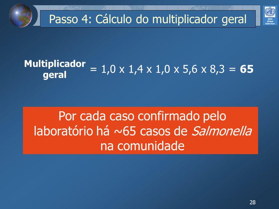 28 = 1,0 x 1,4 x 1,0 x 5,6 x 8,3 = 65 Por cada caso confirmado pelo laboratório há ~65 casos de Salmonella na comunidade Multiplicador geral Passo 4: