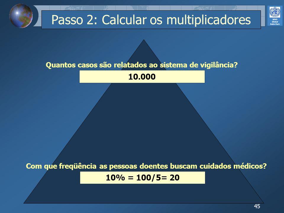 45 10% = 100/5= 20 10.000 Com que freqüência as pessoas doentes buscam cuidados médicos? Quantos casos são relatados ao sistema de vigilância? Passo 2
