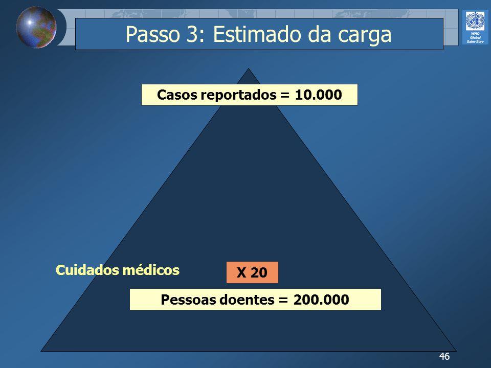 46 Pessoas doentes = 200.000 Casos reportados = 10.000 X 20 Cuidados médicos Passo 3: Estimado da carga