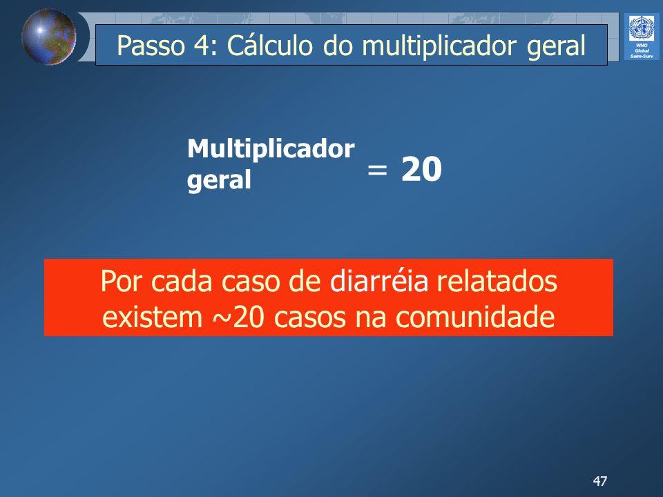 47 = 20 Por cada caso de diarréia relatados existem ~20 casos na comunidade Multiplicador geral Passo 4: Cálculo do multiplicador geral