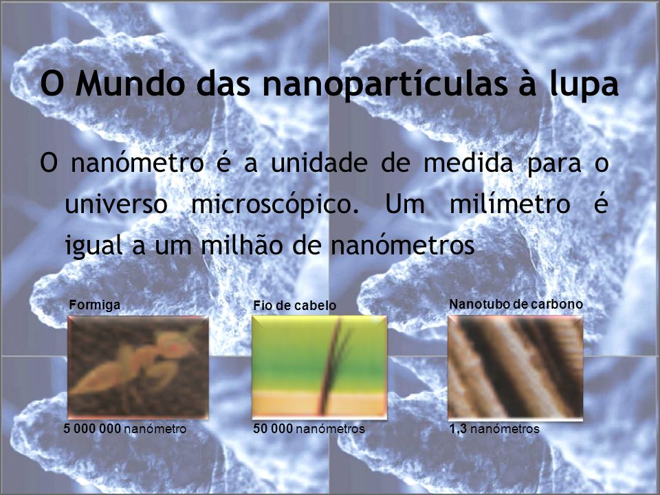 O Mundo das nanopartículas à lupa O nanómetro é a unidade de medida para o universo microscópico. Um milímetro é igual a um milhão de nanómetros 5 000