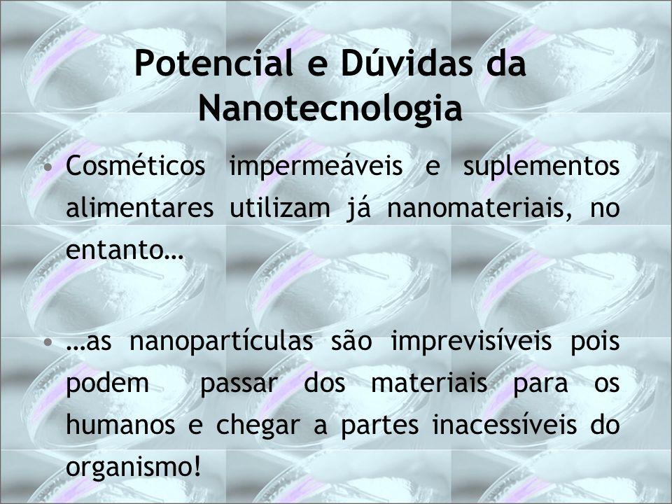 Potencial e Dúvidas da Nanotecnologia Cosméticos impermeáveis e suplementos alimentares utilizam já nanomateriais, no entanto… …as nanopartículas são