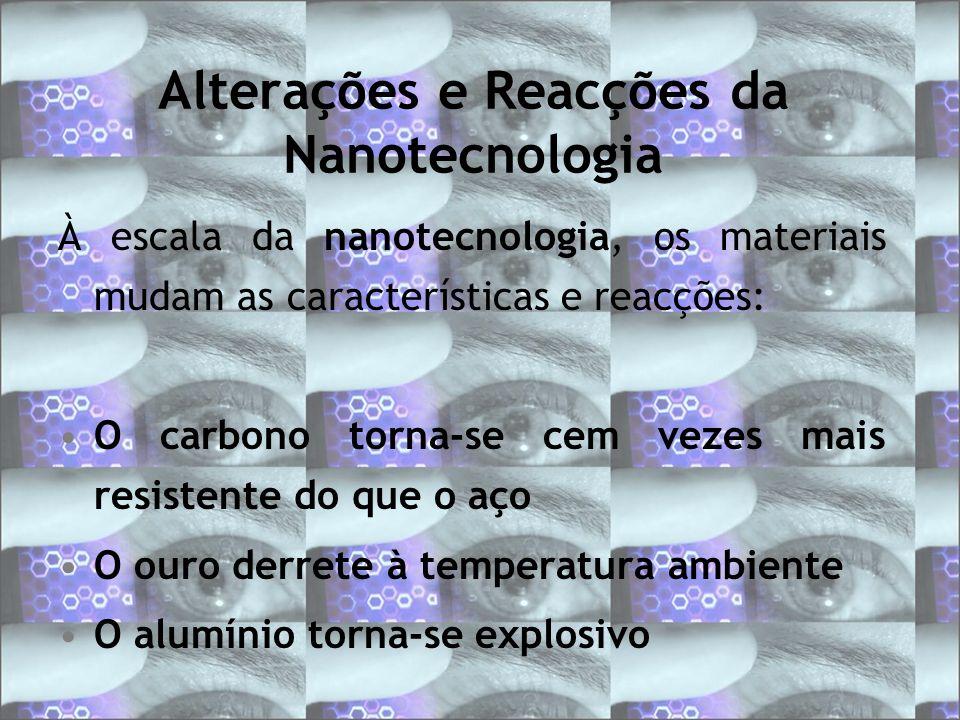 Alterações e Reacções da Nanotecnologia À escala da nanotecnologia, os materiais mudam as características e reacções: O carbono torna-se cem vezes mai