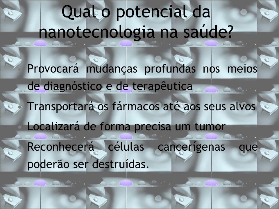 Qual o potencial da nanotecnologia na saúde? Provocará mudanças profundas nos meios de diagnóstico e de terapêutica Transportará os fármacos até aos s