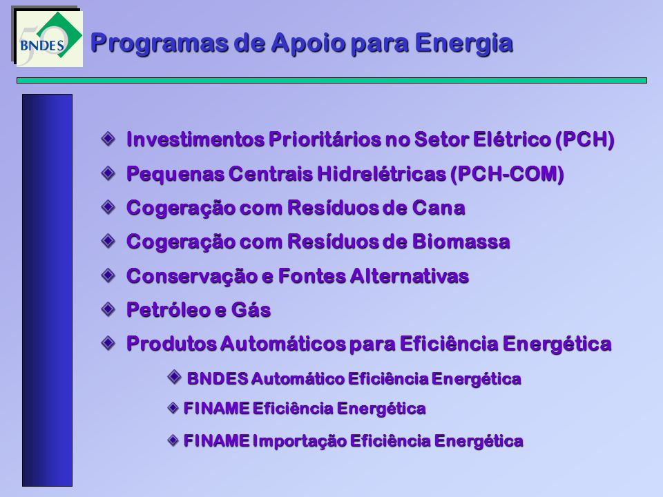 Programas de Apoio para Energia Investimentos Prioritários no Setor Elétrico (PCH) Investimentos Prioritários no Setor Elétrico (PCH) Pequenas Centrai
