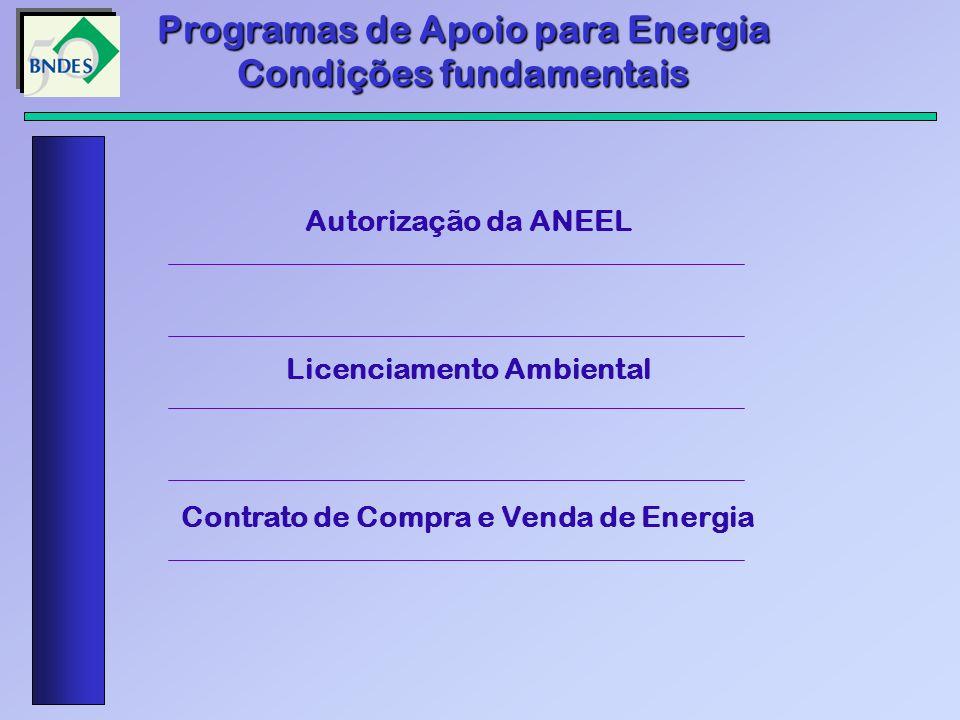 Programas de Apoio para Energia Condições fundamentais Autorização da ANEEL Licenciamento Ambiental Contrato de Compra e Venda de Energia