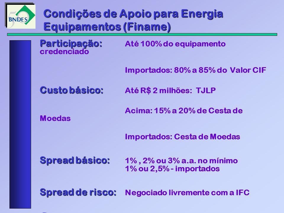 Participação: Participação: Até 100% do equipamento credenciado Importados: 80% a 85% do Valor CIF Custo básico: Custo básico: Até R$ 2 milhões: TJLP