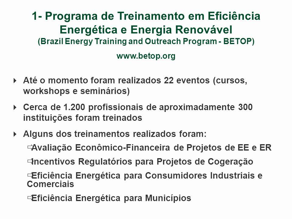 A Experiência da USAID no Brasil Principais Atividades 1 - Programa de Treinamento em Eficiência Energética e Energia Renovável 2 - Programa de Promoção de Tecnologias Limpas 3 - Escritório de Apoio à Energia Renovável