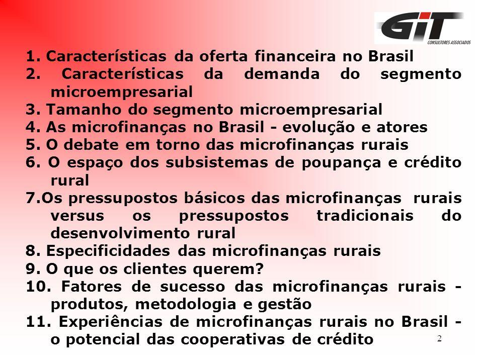 2 1. Características da oferta financeira no Brasil 2. Características da demanda do segmento microempresarial 3. Tamanho do segmento microempresarial