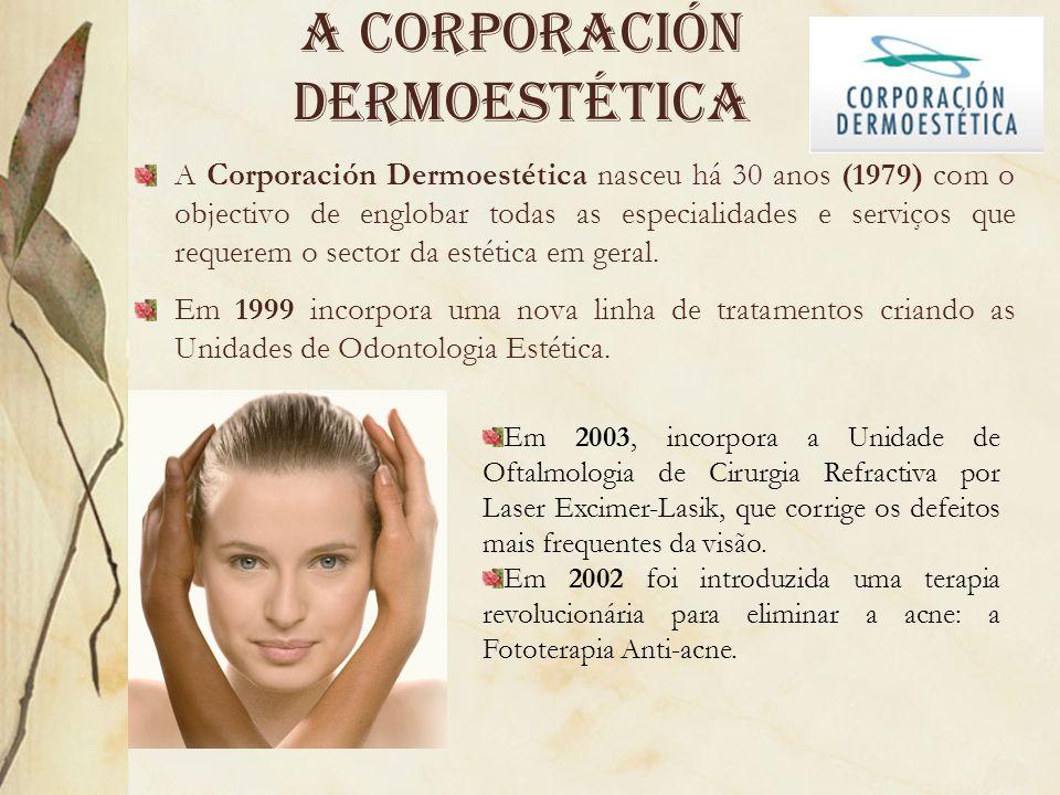 A Corporación dermoestética A Corporación Dermoestética nasceu há 30 anos (1979) com o objectivo de englobar todas as especialidades e serviços que re
