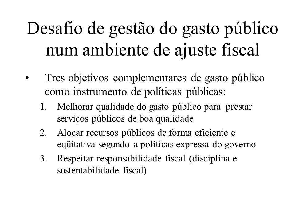 Desafio de gestão do gasto público num ambiente de ajuste fiscal Tres objetivos complementares de gasto público como instrumento de políticas públicas