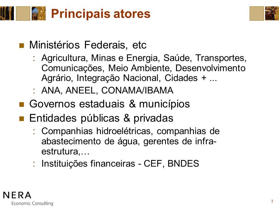 3 Principais atores Ministérios Federais, etc :Agricultura, Minas e Energia, Saúde, Transportes, Comunicações, Meio Ambiente, Desenvolvimento Agrário, Integração Nacional, Cidades +...