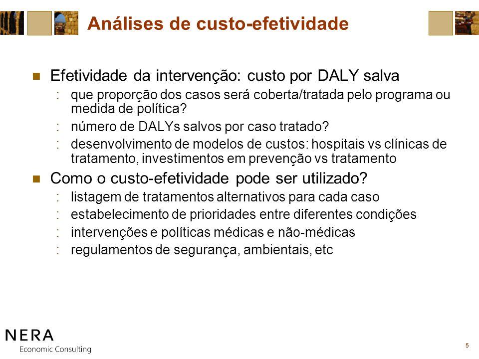 5 Análises de custo-efetividade Efetividade da intervenção: custo por DALY salva :que proporção dos casos será coberta/tratada pelo programa ou medida