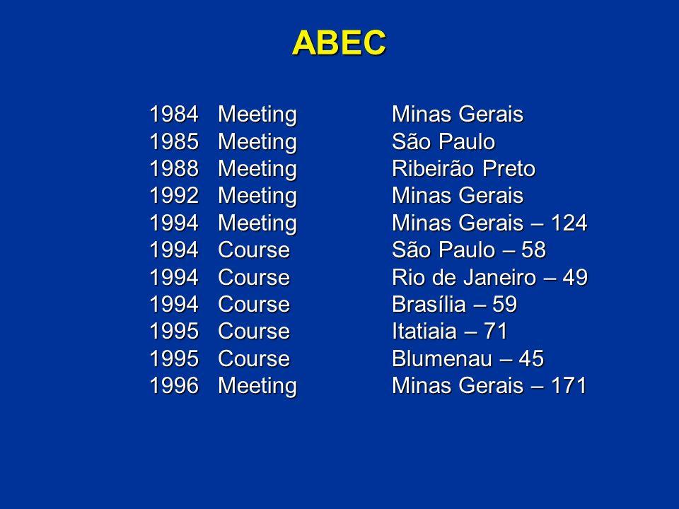 ABEC 1984 MeetingMinas Gerais 1985 MeetingSão Paulo 1988 MeetingRibeirão Preto 1992 MeetingMinas Gerais 1994 MeetingMinas Gerais – 124 1994 CourseSão Paulo – 58 1994 CourseRio de Janeiro – 49 1994 CourseBrasília – 59 1995 CourseItatiaia – 71 1995 CourseBlumenau – 45 1996 MeetingMinas Gerais – 171