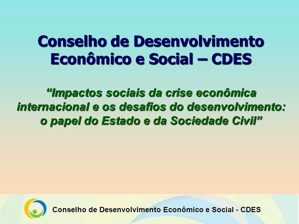 Conselho de Desenvolvimento Econômico e Social - CDES O Papel do Estado O Estado atua como regulador e indutor do desenvolvimento recuperando sua função social (promove a igualdade e dignidade humana).