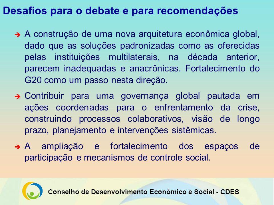 Conselho de Desenvolvimento Econômico e Social - CDES Desafios para o debate e para recomendações A construção de uma nova arquitetura econômica globa