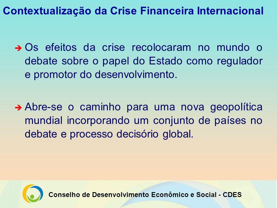 Conselho de Desenvolvimento Econômico e Social - CDES Efeitos da Crise Internacional no Brasil A situação macroeconômica brasileira, em setembro de 2008, era confortável: Reservas Internacionais superiores a US$ 204 bilhões; Crescimento do PIB Nacional (3º trimestre/08): 6,4%; Taxa de investimento (FBCF/PIB): 19%; Inflação anual (IPCA/2008): 5,9%; Saldo da Balança Comercial FOB (3º trimestre/08): US$ 8,35 bilhões; Recorde histórico da safra agrícola: 145,8 milhões de toneladas de grãos; Sistema bancário sólido; Taxa de crescimento do consumo das famílias (2008): 5,4%.