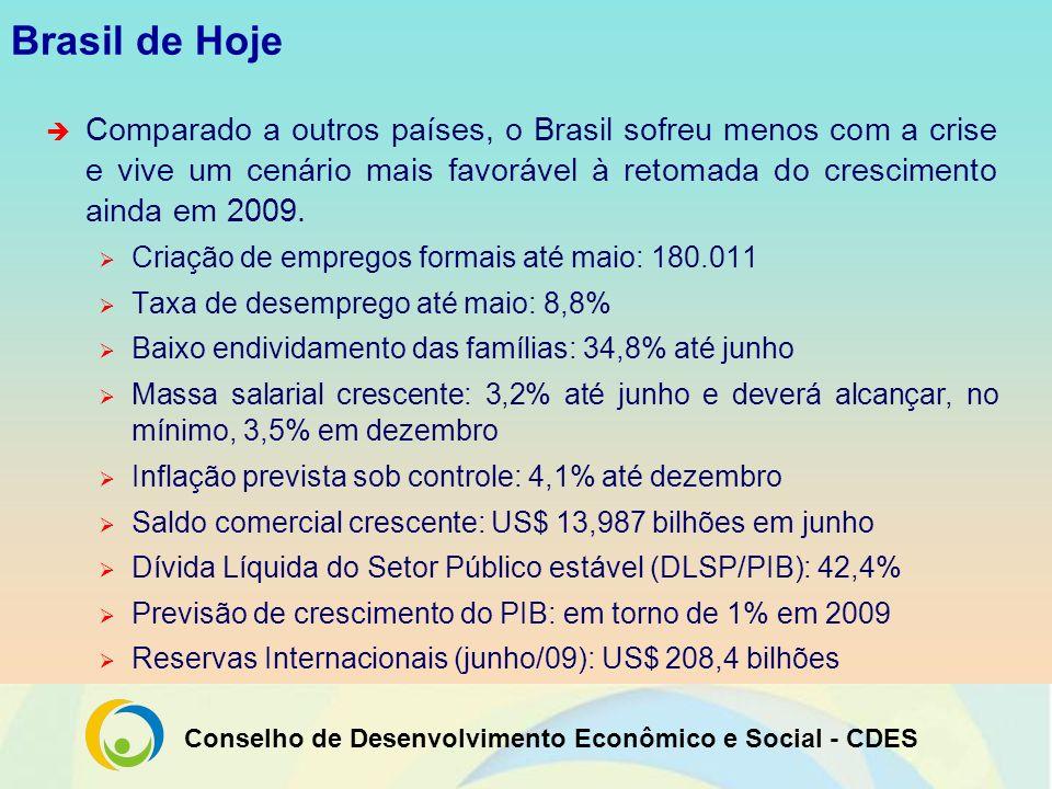 Conselho de Desenvolvimento Econômico e Social - CDES Pilares de sustentação do modelo brasileiro Debates realizados pelo CDES apontam quatro pilares estruturantes para o desenvolvimento do país: Programa de Aceleração do Crescimento (PAC) Sistema de Financiamento Público Sólidas Empresas Públicas Sistema de Proteção Social