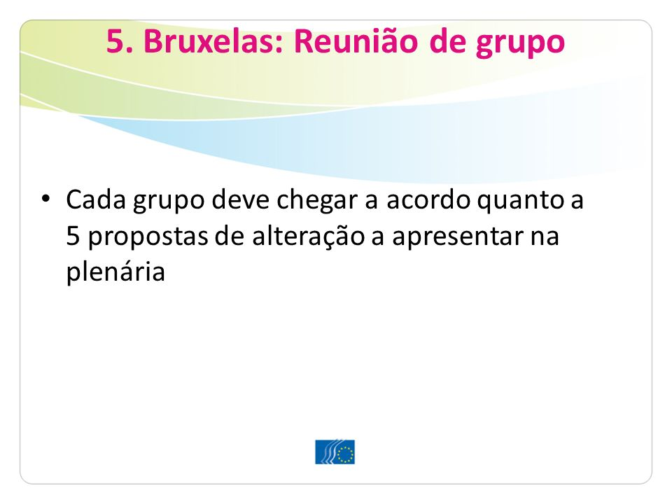 5. Bruxelas: Reunião de grupo Cada grupo deve chegar a acordo quanto a 5 propostas de alteração a apresentar na plenária