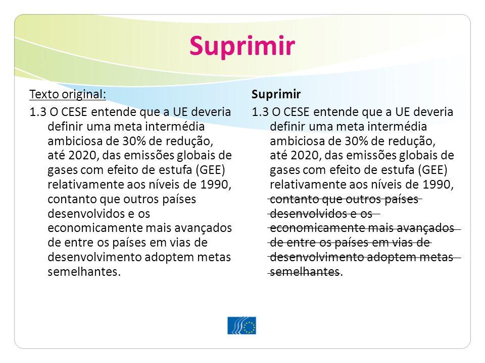 Suprimir Texto original: 1.3 O CESE entende que a UE deveria definir uma meta intermédia ambiciosa de 30% de redução, até 2020, das emissões globais d