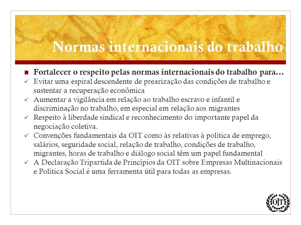 Fortalecer o respeito pelas normas internacionais do trabalho para... Evitar uma espiral descendente de prearização das condições de trabalho e susten