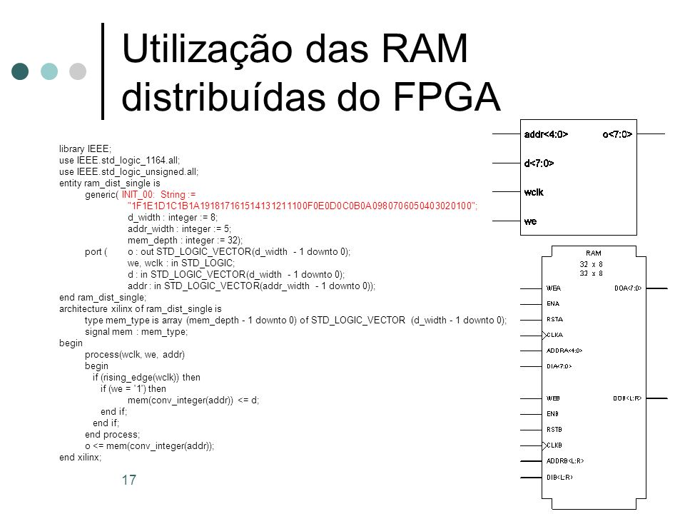 17 Utilização das RAM distribuídas do FPGA library IEEE; use IEEE.std_logic_1164.all; use IEEE.std_logic_unsigned.all; entity ram_dist_single is gener