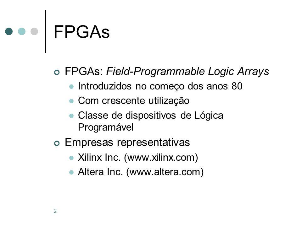 2 FPGAs FPGAs: Field-Programmable Logic Arrays Introduzidos no começo dos anos 80 Com crescente utilização Classe de dispositivos de Lógica Programáve