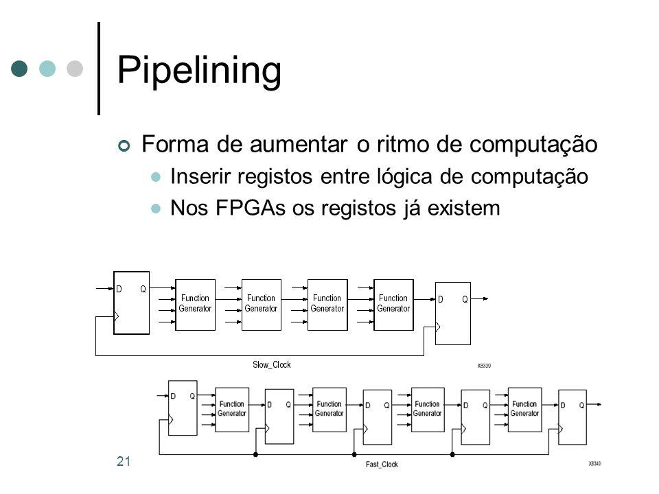 21 Pipelining Forma de aumentar o ritmo de computação Inserir registos entre lógica de computação Nos FPGAs os registos já existem