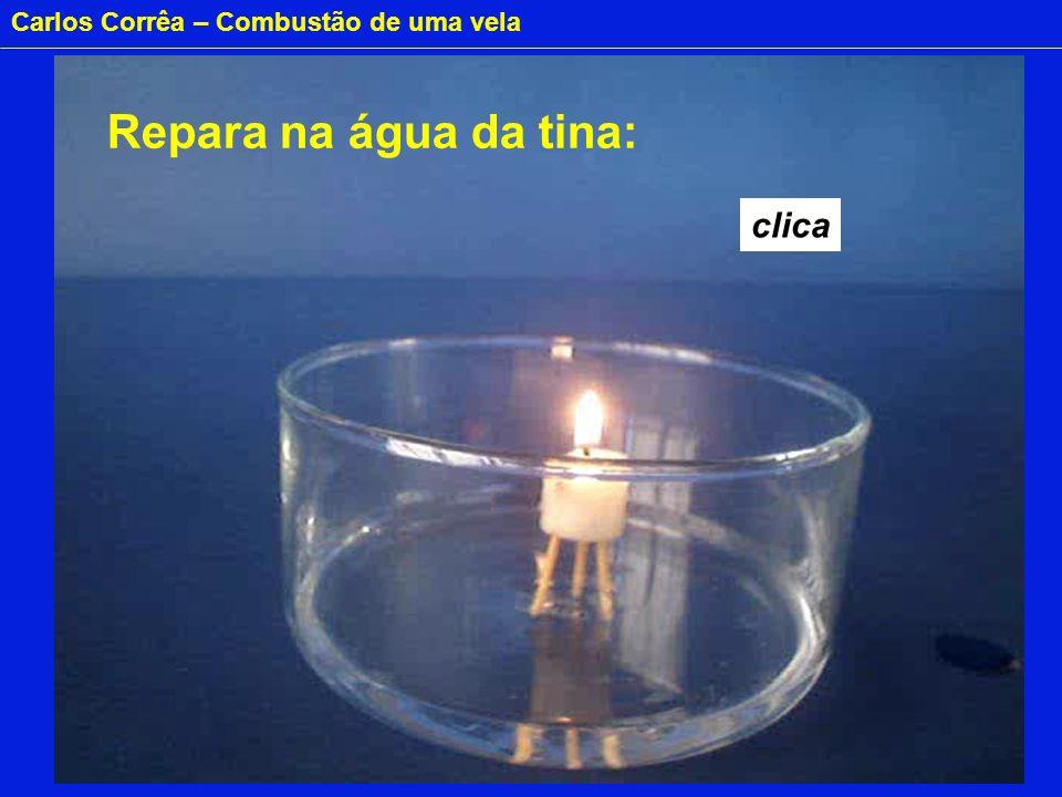 Carlos Corrêa – Combustão de uma vela Produtos da combustão: 43 moles A água subiu no copo.