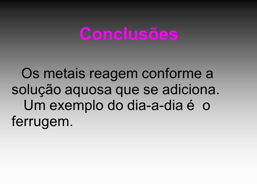 Conclusões Os metais reagem conforme a solução aquosa que se adiciona. Um exemplo do dia-a-dia é o ferrugem.