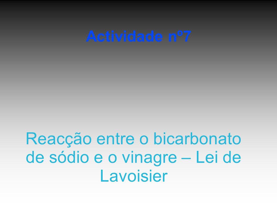 Actividade nº7 Reacção entre o bicarbonato de sódio e o vinagre – Lei de Lavoisier
