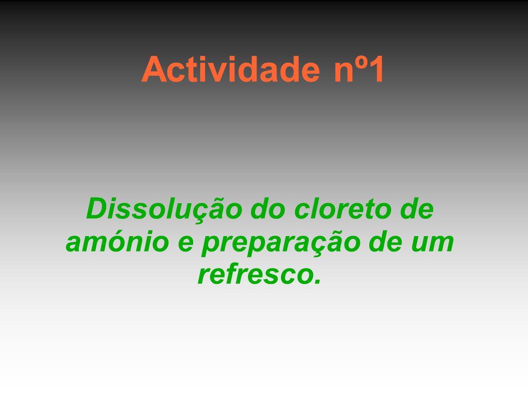 Actividade nº1 Dissolução do cloreto de amónio e preparação de um refresco.