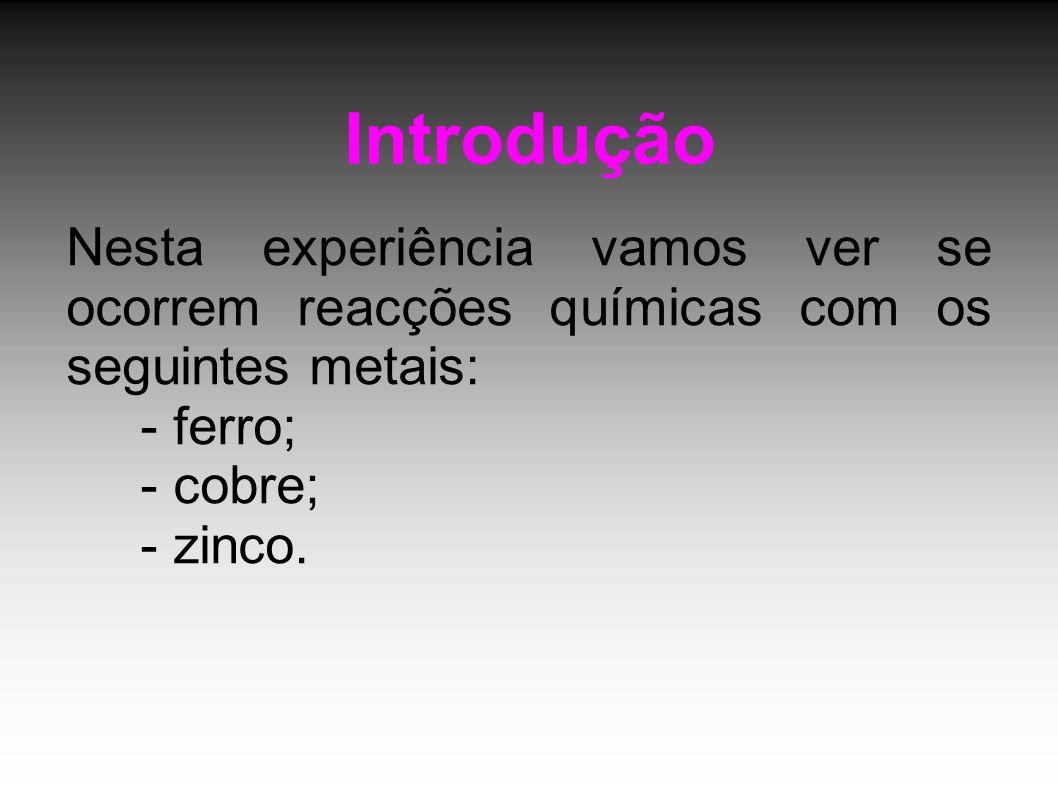 Introdução Nesta experiência vamos ver se ocorrem reacções químicas com os seguintes metais: - ferro; - cobre; - zinco.
