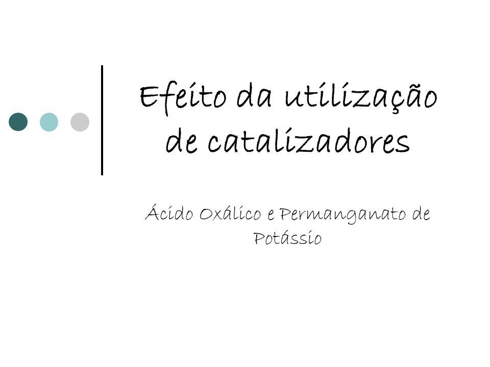 Efeito da utilização de catalizadores Ácido Oxálico e Permanganato de Potássio