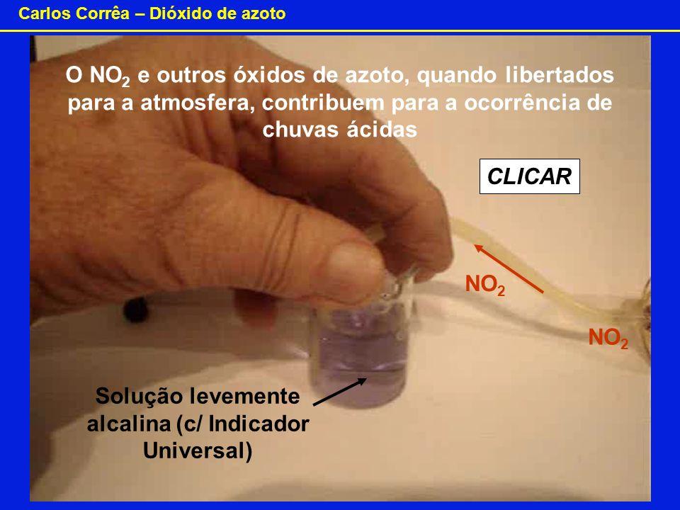 Carlos Corrêa – Dióxido de azoto O NO 2 e outros óxidos de azoto, quando libertados para a atmosfera, contribuem para a ocorrência de chuvas ácidas So