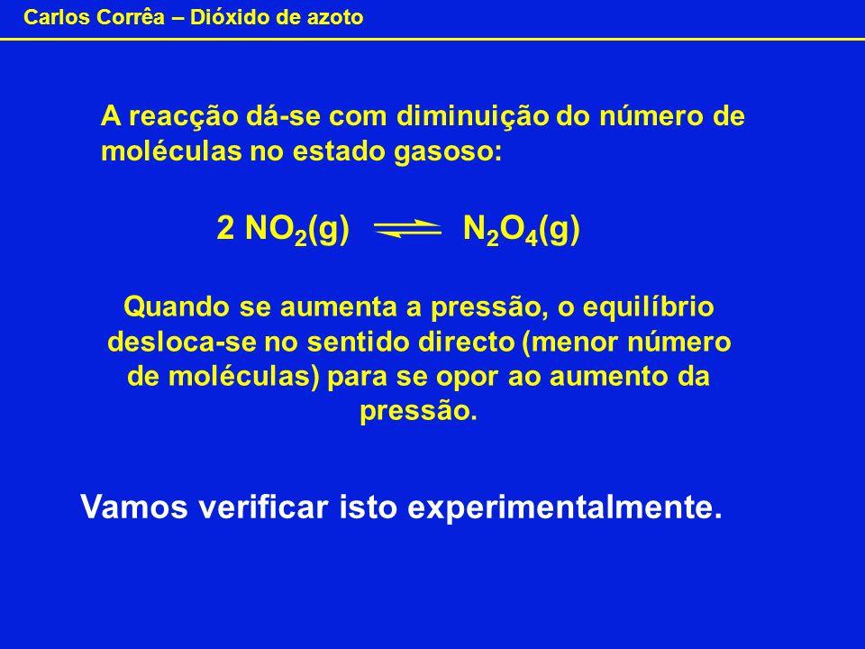 Carlos Corrêa – Dióxido de azoto A reacção dá-se com diminuição do número de moléculas no estado gasoso: Quando se aumenta a pressão, o equilíbrio des