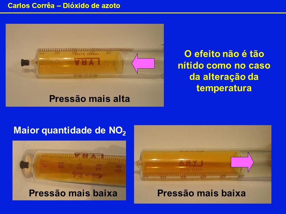 Carlos Corrêa – Dióxido de azoto Pressão mais alta Maior quantidade de NO 2 O efeito não é tão nítido como no caso da alteração da temperatura Pressão