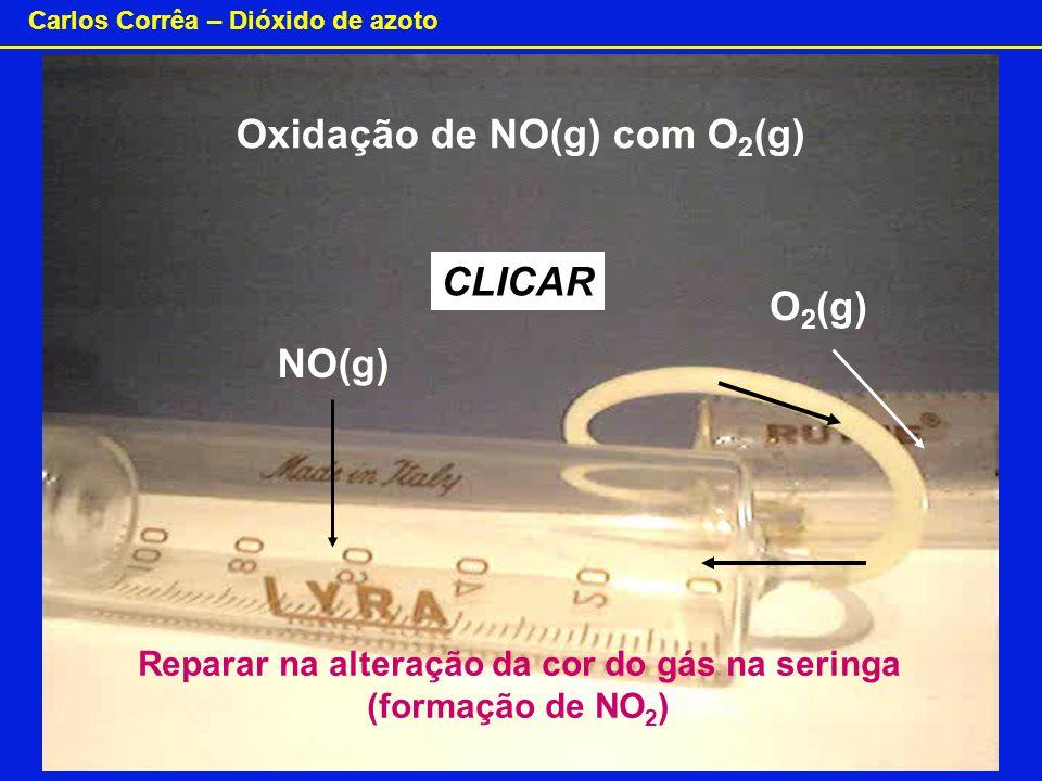 Carlos Corrêa – Dióxido de azoto NO(g) O 2 (g) Oxidação de NO(g) com O 2 (g) CLICAR Reparar na alteração da cor do gás na seringa (formação de NO 2 )